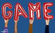 Red alphabet helium balloons forming the text game   premium image by rawpixel.com Video Game Backgrounds, Text Games, Balloon Words, Red Balloon, Helium Balloons, Business Card Mock Up, Texts, Alphabet, Photo Editing