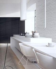 Black and White Loft Minimalist Kitchen