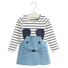 2015 estilo Casual meninas vestido de manga comprida listrada mouse lindo projeto de outono chegam novas crianças roupas