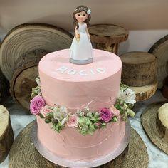 tarta buttercream rosa paleteada corona floral
