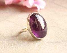 Amethyst ring  Cahochon ring  Bezel set ring  by Studio1980, $85.00