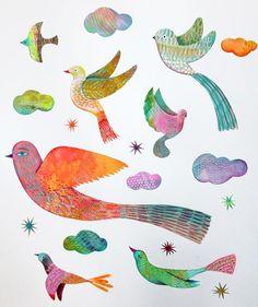 Muriel Kerba - Djeco / stickers oiseaux #birds #illustration