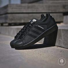 """Adidas Superstar 80s Primeknit"" Black | Now Live @afewstore | @adidas_de @adidasoriginals @adidas_gallery @adidas @teamtrefoil #adidas #superstar #shelltoe #primeknit #trefoil"