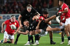 Dagg looks for a pass as he is brought down in the tackle, as his team-mate Brodie Retalli. British And Irish Lions, New Zealand, Bring It On, Running, Sports, Hs Sports, Keep Running, Why I Run, Sport