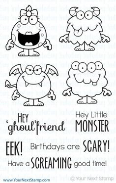 Silly Monsters 2 (clear set) - USD : Your Next Stamp by rosalinda Monster Party, Doodle Drawings, Doodle Art, Little Monsters, Simon Says Stamp, Digi Stamps, Copics, Kids Cards, Clear Stamps
