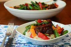 Asian BBQ Ribs with Stir Fry Vegetables and Rice Recipe