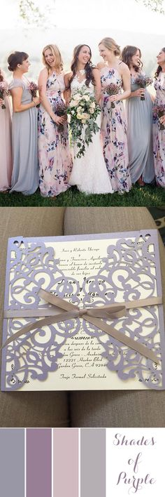 Cheap lavender wedding invites for your shades of purple weddings Laser Cut Wedding Invitations, Rustic Invitations, Invites, Invitation Cards, Birthday Invitations, Lavender Bridesmaid Dresses, Bridesmaids, Chic Wedding, Trendy Wedding