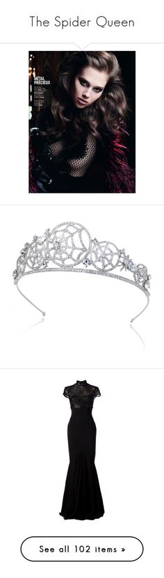 """The Spider Queen"" by zer0ang3l83 ❤ liked on Polyvore featuring accessories, hair accessories, bridal hair accessories, headband hair accessories, headband tiara, bridal hairband, bride tiara, dresses, gowns and long dresses"