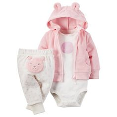 Carters Baby Girls 3 Piece Terry Cardigan Set Baby Happy Bear Pink *** For more information, visit image link. Baby Girl Pants, Carters Baby Girl, New Baby Girls, Baby Girl Newborn, Baby Boys, Toddler Girl, Infant Girls, Newborn Care, Infant Toddler
