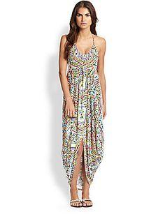 ac47c936ad48 Mara Hoffman Cocoon-Hem Print Halter Dress Resort Style