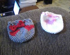 Hearts tapestry crochet drawstring dice bags. With 'heart-strings' drawstrings.