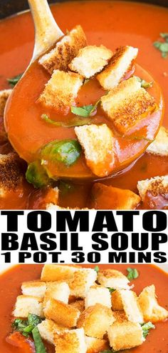 Quick and easy tomato basil soup recipe, made with simple ingredients in one pot. This 30 minute weeknight meal is rich, creamy, packed with herbs, spices. Best Soup Recipes, Healthy Soup Recipes, Favorite Recipes, Chili Recipes, Tomato Soup From Scratch, Quick Tomato Basil Soup Recipe, Tomato Basil Soup Crockpot, Comfort Food, Slow Cooker Soup