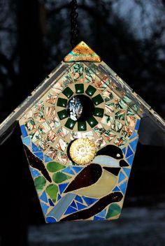 Bird House Stained Glass Mosaic Chickadee. $85.00, via Etsy.