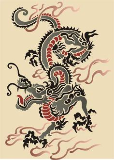 chinese dragon images | Chinese Dragon Oriental Stencil Designs from Stencil Kingdom