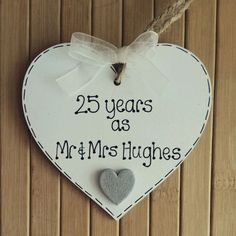 Personalised handmade silver/25th #wedding anniversary #wooden heart…