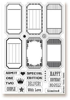 Kanban Clear Rubber Stamps - Tickets - Tags - Birthday - With Love - New Chore Chart Kids, Cricut Craft Room, Good Notes, Aesthetic Stickers, Digi Stamps, Free Prints, Clear Stamps, Mini Albums, Coloring Pages