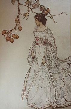 "1906 Arthur Rackham (English illustrator; 1869-1937) ~Queen Mab, who rules in the gardens ""Peter Pan in Kensington Gardens"""