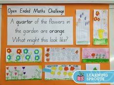 Higher level questions An open ended mathematics question to help students explore the concept of fractions of a group. Students can choose how many flowers in the garden but can be challenged to choose a number that is a multiple of Teaching Fractions, Math Fractions, Teaching Math, Teaching Ideas, Primary Teaching, Fraction Activities, Math Resources, Math Activities, Fraction Games