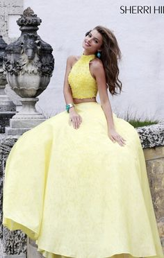 2015 Yellow Embellished Ballgown by Sherri Hill 32058