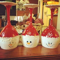 "These glasses are an adorable centerpiece for your Christmas table setting this year! Designed to be upside-down, these glasses are meant to be candle holders. Painted with ""snow"" this trio is too cute not to have! **Hand wash only! Christmas Glasses, Christmas Wine Bottles, Christmas Candles, Diy Christmas Ornaments, Wine Glass Candle Holder, Candle Holders, Wine Glass Centerpieces, Diy Xmas Gifts, Wine Glass Crafts"