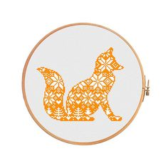 Christmas fox nordic pattern cross stitch pattern modern