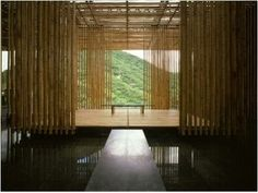 """Pictures of a guest house """"The Great (Bamboo) Wall"""" designed by Japanese architect Kengo Kuma. The design incorporated clean modern lines and bamboo to blend old and new. Detail Architecture, Bamboo Architecture, Contemporary Architecture, Interior Architecture, Architecture Wallpaper, Cultural Architecture, Architecture Student, Kengo Kuma, Bamboo House"""