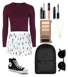 """Prickly Pear"" by silverowlett ❤ liked on Polyvore featuring Kenzo, Topshop, Converse, Rains, Urban Decay, MAC Cosmetics, Chanel, Minor Obsessions and NARS Cosmetics"
