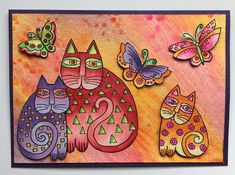 Have you seen these fabulous new stamps from Stampendous! The new line of Laurel Burch stamps are wonderful, if you haven't seen them, cli. Laurel Burch, First Grade Art, Cat Quilt, Cat Cards, Cat Colors, Copics, Crazy Cats, Cardmaking, Artsy