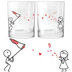 Too cute, i want them...Soul Mate drinking glasses |