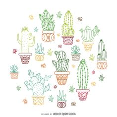 Cactus outline illustration - Free Vector