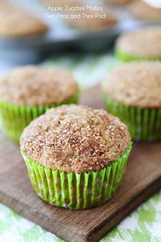 Apple Zucchini Muffins Recipe on twopeasandtheirpod.com Love these healthy muffins and they freeze well too!