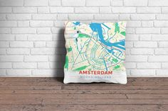 Map Throw Pillow of Amsterdam Noord-Holland - Modern Colorful