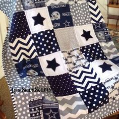 Dallas cowboy quilt in navy, gray & white/nfl dallas cowboy Dallas Cowboys Blanket, Dallas Cowboys Crafts, Cowboys Gifts, Dallas Cowboys Football, Pittsburgh Steelers, Cowboy Crafts, Cowboy Quilt, How Bout Them Cowboys, Cow Boys