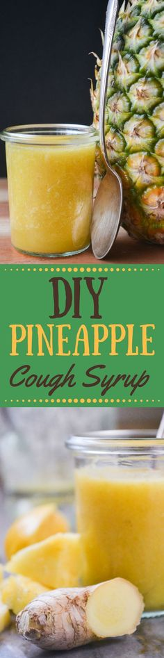 At the first sign of a cough or sniffle, skip the trip to the corner drugstore and make up a batch of this All Natural DIY Pineapple Cough Syrup ~ it's effective, and delicious! #pineappple #homeremedy #remedy #health #fluremedy #naturalmedicine #flueseason #coughremedy #coldseason #coldmedicine #homemademeds #allnatural #sorethroat #cough