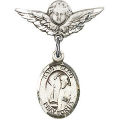 Sterling Silver Baby Badge with St. Elmo Charm and Angel w/Wings Badge Pin 7/8 X 3/4 inches >>> Want to know more, click on the image.