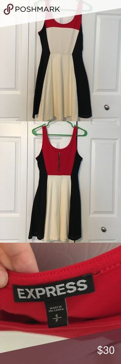 Express Size S Dress Black, Red and white dress from Express. Never worn. Size small. Fitted top with flared bottom. Back zipper and clasp work great. Express Dresses