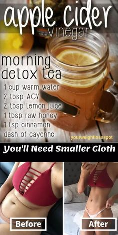 If you looking for a drink that will detox your body from toxic substances and to burn fats! Then this apple cider vinegar detox drink recipe is just for you. Apple cider vinegar (ACV) is quite popular for it's antioxidant and revitalization properties. Weight Loss Meals, Weight Loss Drinks, Weight Loss Smoothies, Weight Loss Detox, Drinks To Lose Weight, Weight Gain, Detox Water To Lose Weight, Water Weight, Weight Lifting