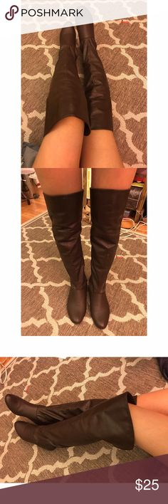 Over the knee Brown Leather Boots Super cute to wear for all year long of you're a fan of the over the knee boots, easy to slide on or zip all the way up and down. Very comfortable and in great condition. I'm 5'0 and they don't look very long on me. The heel is flat, but the heel height is about .5/.75 Forever 21 Shoes Over the Knee Boots