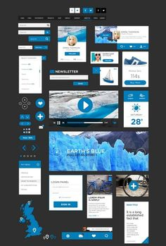 Blue Flat UI kit with PSD