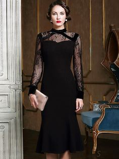 505f9b43f58bc Buy Sexy Stand Collar Lace Patchwork Mermaid Dress with High Quality and  Lovely Service at DressSure