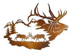Elk Reflections of the Wilderness Laser Cut Metal Wall Art