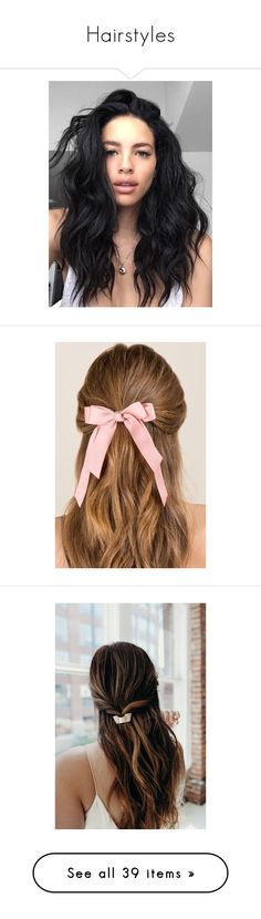 """""""Hairstyles"""" by jordiewinchester on Polyvore featuring accessories, hair accessories, hair, bows, hair styles, blush, bow hair accessories, pink hair ties, pink hair accessories and bow hair ties"""