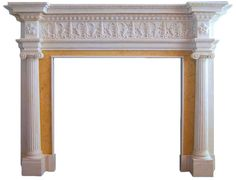 Ionic Albany Hand Carved Marble Fireplace Mantel | Fluted Columns Ionic