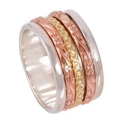 FOR SELL 925 STERLING SILVER THREE TONE SPINNER RING 8.23g DJR9189 SIZE-7 #Handmade #Ring