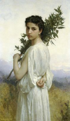 Learn more about Branche de Laurier (Laurel Branch) William-Adolphe Bouguereau - oil artwork, painted by one of the most celebrated masters in the history of art. William Adolphe Bouguereau, Classic Paintings, Beautiful Paintings, European Paintings, Old Paintings, Contemporary Paintings, Munier, Laurel, Academic Art