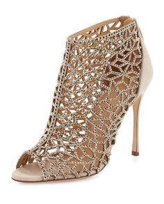 Sergio Rossi Tresor Laser-Cut Strass Crystal Bootie, Nude - Shoes Post