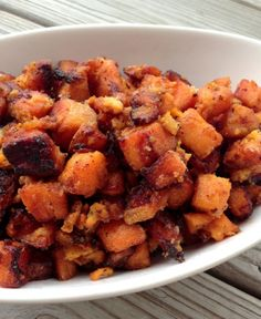Fried Sweet Potato hash, tossed in coconut butter
