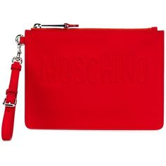 Moschino Embossed Logo Clutch (£255) ❤ liked on Polyvore featuring bags, handbags, clutches, moschino handbags, red handbags, red clutches, moschino purse and moschino