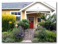 cottage yellow with red door | Flickr - Photo Sharing!