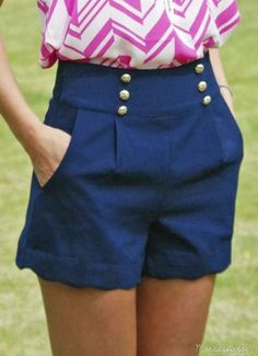 Monday Dress - In The Navy Scalloped Shorts Cute Shorts, Pink Shorts, Trendy Dresses, Short Dresses, Preppy Style, My Style, Monday Dress, Summer Outfits, Cute Outfits